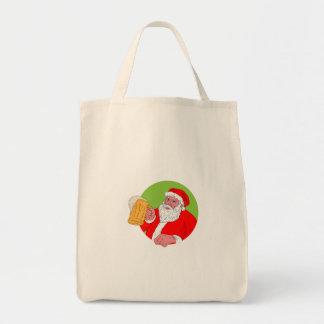 Bolsa Tote Desenho da cerveja do bebendo de Papai Noel