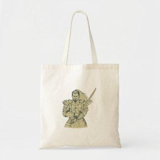 Bolsa Tote Desenho da posição de Swordfight do guerreiro do