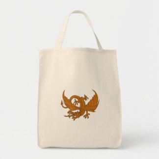 Bolsa Tote Desenho de agachamento do dragão agressivo