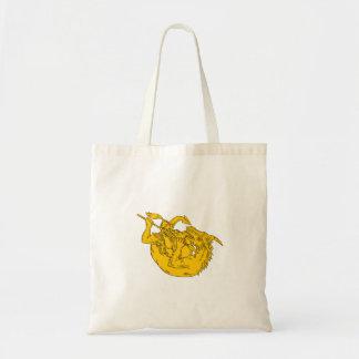 Bolsa Tote Desenho de combate da lança do dragão do cavaleiro