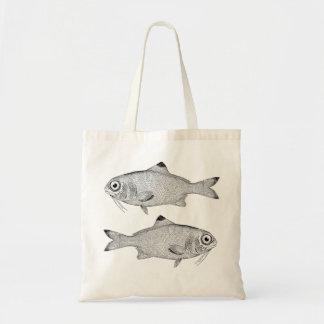 Bolsa Tote Desenho estranho dos peixes do vintage