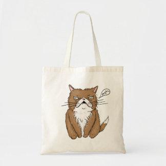 Bolsa Tote Desenho mal-humorado engraçado do gato de Meh