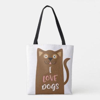Bolsa Tote Desenhos animados bonitos eu amo cães