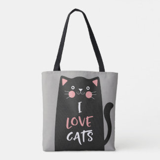 Bolsa Tote Desenhos animados bonitos eu amo gatos