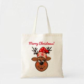 Bolsa Tote Desenhos animados da rena de Papai Noel