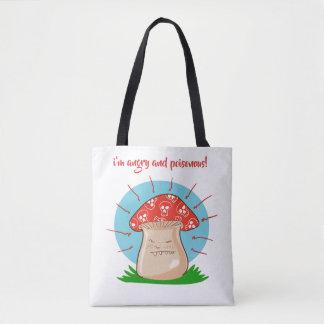 Bolsa Tote desenhos animados engraçados do cogumelo irritado
