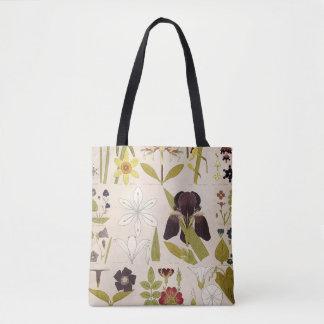 Bolsa Tote Desenhos do vintage das flores