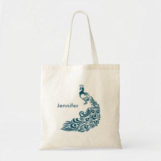 Bolsa Tote Design à moda do art deco do pavão da cerceta