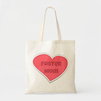 Bolsa Tote Design adoptivo do coração do rosa da mamã
