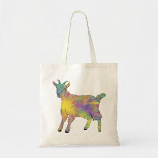Bolsa Tote Design animal engraçado da cabra colorida da arte
