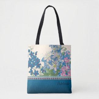 Bolsa Tote Design azul das flores