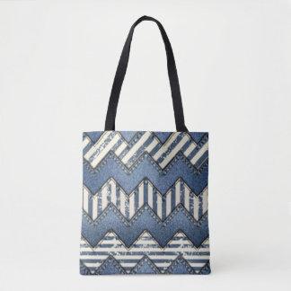 Bolsa Tote Design azul do impressão do teste padrão de