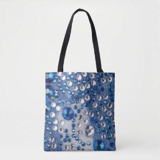 Bolsa Tote Design azul do teste padrão de Jean dos diamantes