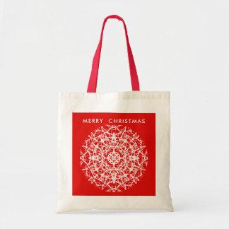 Bolsa Tote Design bonito branco do floco de neve do vermelho
