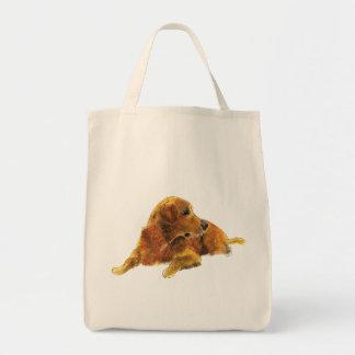 Bolsa Tote Design bonito da arte do Watercolour do cão do