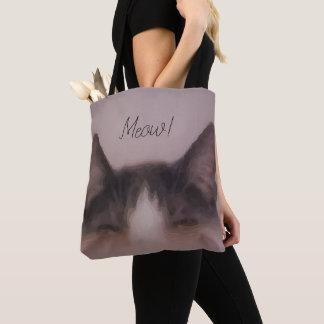 Bolsa Tote Design bonito da pintura do gatinho do Meow