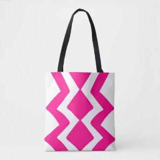 Bolsa Tote Design branco cor-de-rosa do ziguezague