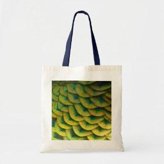 Bolsa Tote Design colorido da natureza das penas II do pavão