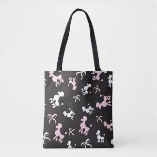 Bolsa Tote Design cor-de-rosa e preto da caniche