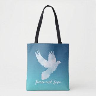 Bolsa Tote Design da paz e do amor com pomba do vôo