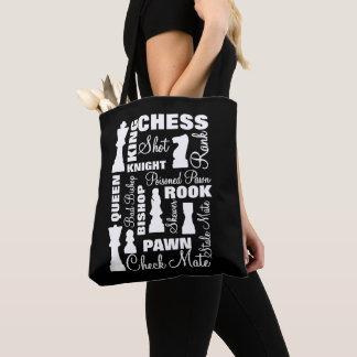 Bolsa Tote Design da tipografia dos jogadores de xadrez