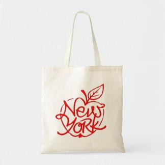 Bolsa Tote Design de rotulação de New York. Maçã grande. NYC.