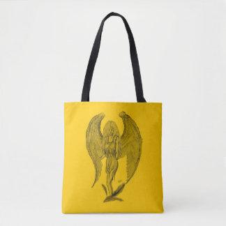 Bolsa Tote Design do anjo, do preto e do amarelo
