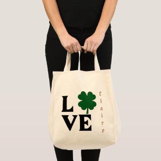 Bolsa Tote Design do Dia de São Patrício do trevo do amor