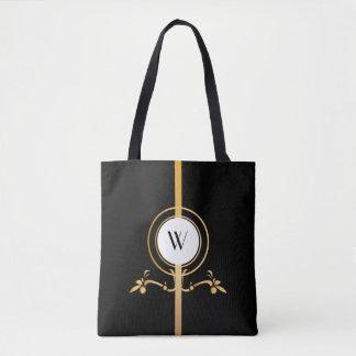 Bolsa Tote Design elegante | do monograma do preto e do ouro