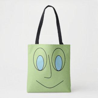 Bolsa Tote Design Eyed azul do smiley face do divertimento