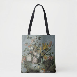 Bolsa Tote design floral, cores macias bonitas