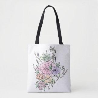 Bolsa Tote design floral do estilo da aguarela