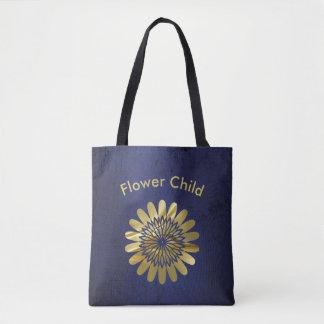 Bolsa Tote Design floral do ouro da criança de flor