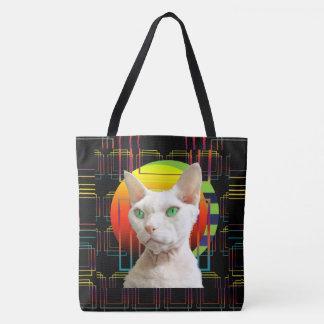Bolsa Tote Design louco Devon branco Rex Casper do gato no