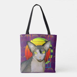 Bolsa Tote Design louco do gato com gato de Sphynx e gato de
