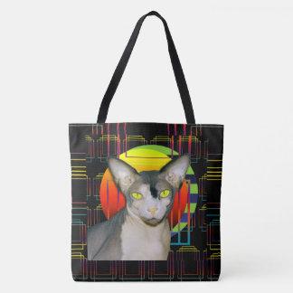 Bolsa Tote Design louco do gato com gato Ninja de Sphynx no