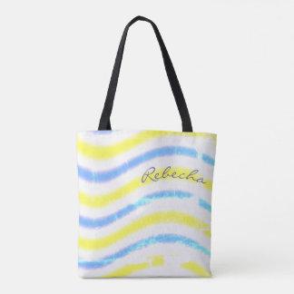 """Bolsa Tote """"Design ondulado do olhar vestido"""" com nome -"""