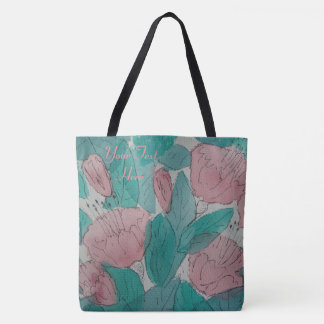Bolsa Tote design original contempory floral esboçado da arte