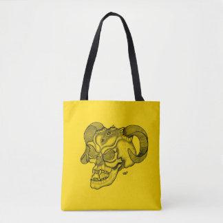 Bolsa Tote Design preto e amarelo da cabeça do diabo do
