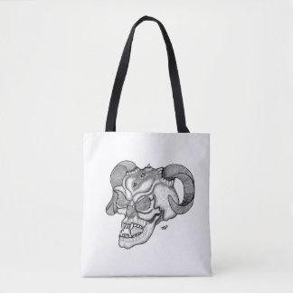 Bolsa Tote Design preto e branco da cabeça do diabo do crânio