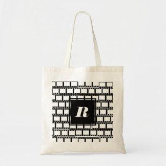 Bolsa Tote Design preto e branco do monograma para amantes do