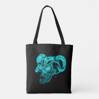 Bolsa Tote Design preto e verde da cabeça do diabo do crânio