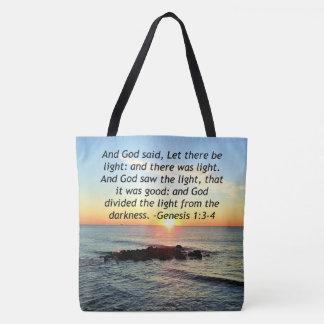 Bolsa Tote Design sereno da bíblia do 1:3 da génese do nascer