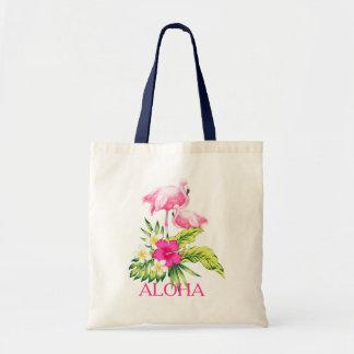Bolsa Tote Design tropical do hibiscus & dos flamingos