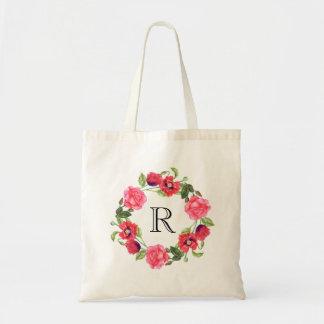 Bolsa Tote Design vermelho & cor-de-rosa da aguarela das