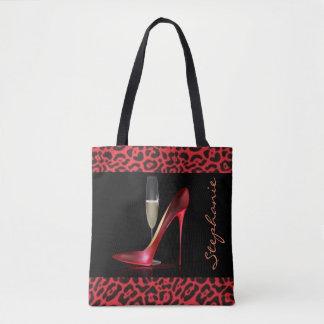 Bolsa Tote Design vermelho do leopardo de Champagne do salto