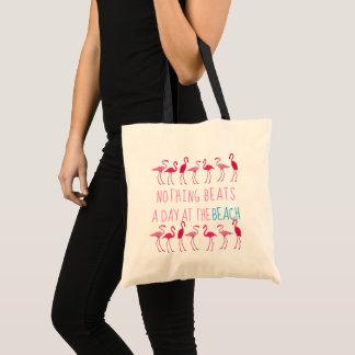 Bolsa Tote Dia na praia que diz a sacola de pano do flamingo