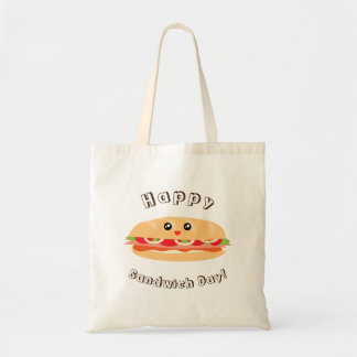 Bolsa Tote Dia nacional feliz do sanduíche bonito e Kawaii