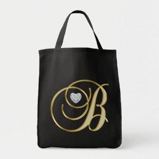 Bolsa Tote Diamante do coração do preto do ouro da letra