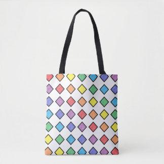 Bolsa Tote Diamantes estáticos esboçados preto do arco-íris